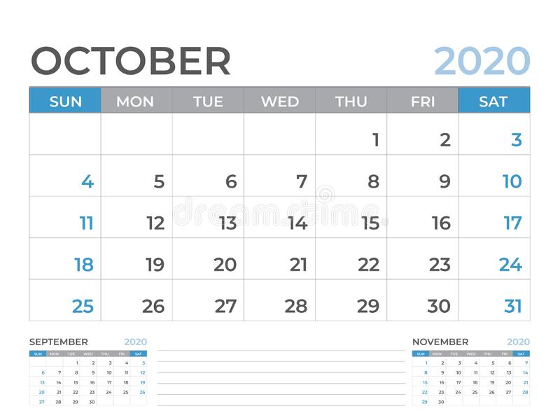 Em outubro de 2020 molde do calendário, tamanho da disposição de calendário da mesa 8 x 6 polegadas, projeto do planejador, começ ilustração royalty free