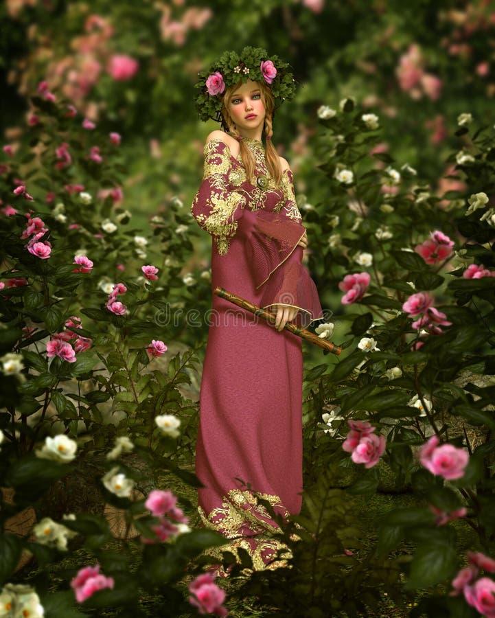 Em Rose Garden, 3d CG ilustração do vetor