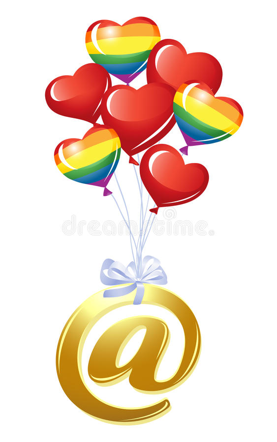 Em-símbolo Com Grupo De Balões Do Coração Imagens de Stock