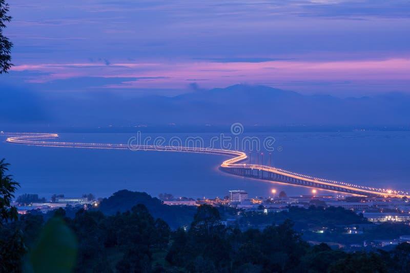 Em segundo ponte de Penang fotografia de stock