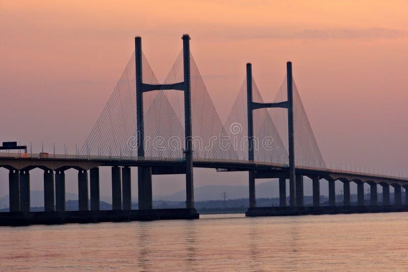 Em segundo Severn Crossing no por do sol fotos de stock royalty free