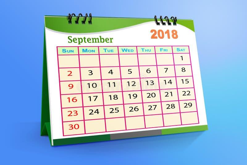 Em setembro de 2018 calendário desktop isolado no fundo colorido ilustração 3D ilustração do vetor