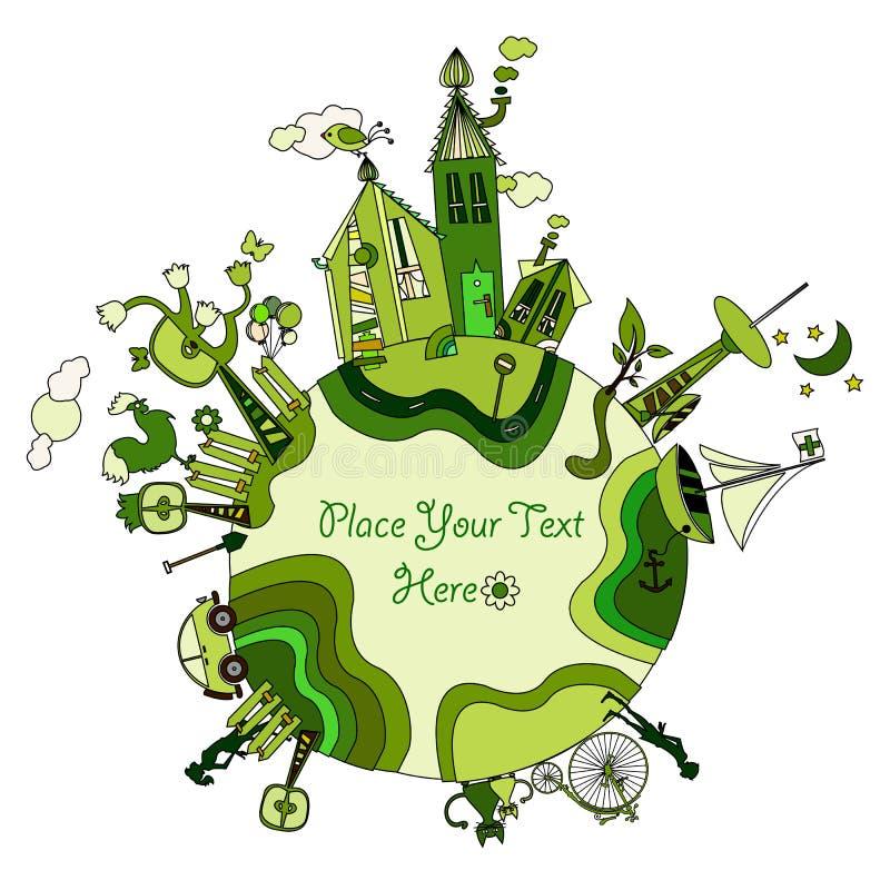 Em torno do bio mundo verde ilustração do vetor