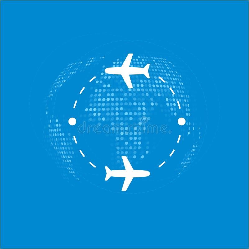 Em torno do mundo na ilustração do vetor plano S?mbolo do curso do avi?o Ícone da viagem de círculo ilustração stock