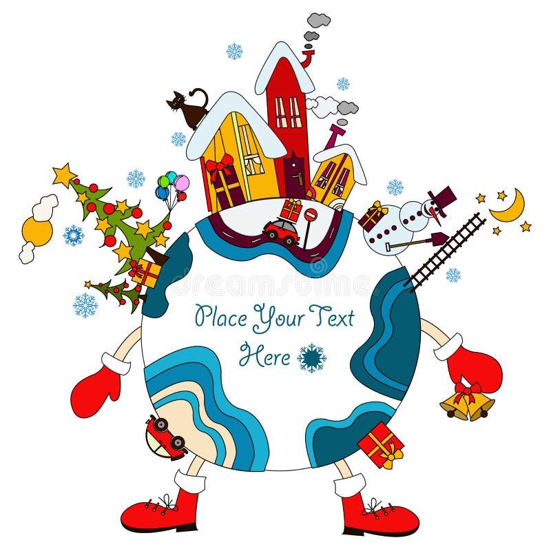 Em torno do mundo no tempo do Natal ilustração royalty free
