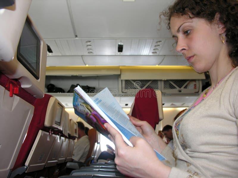 Em um avião imagem de stock