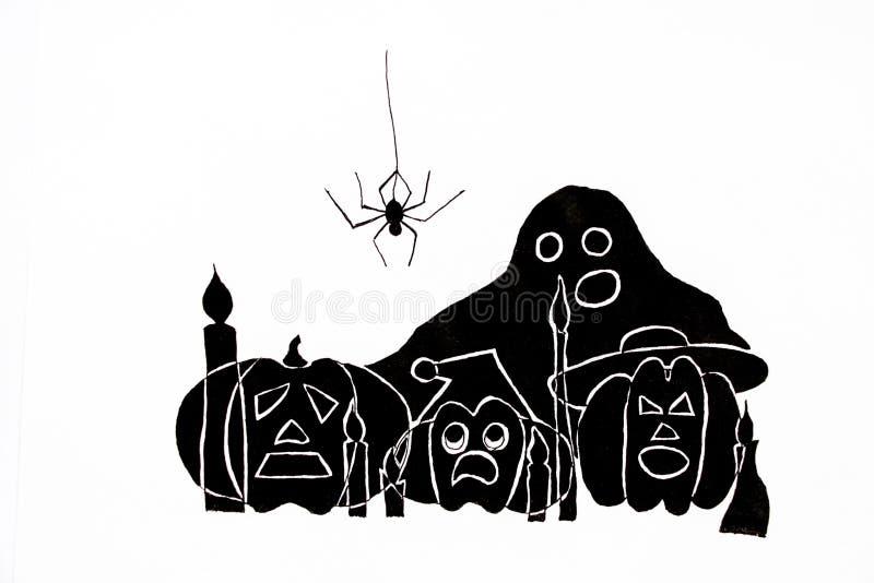 Em um fundo branco são as abóboras assustadores tiradas e Ghost com olhos e bocas abertas e uma aranha que pendura sobre eles ilustração royalty free
