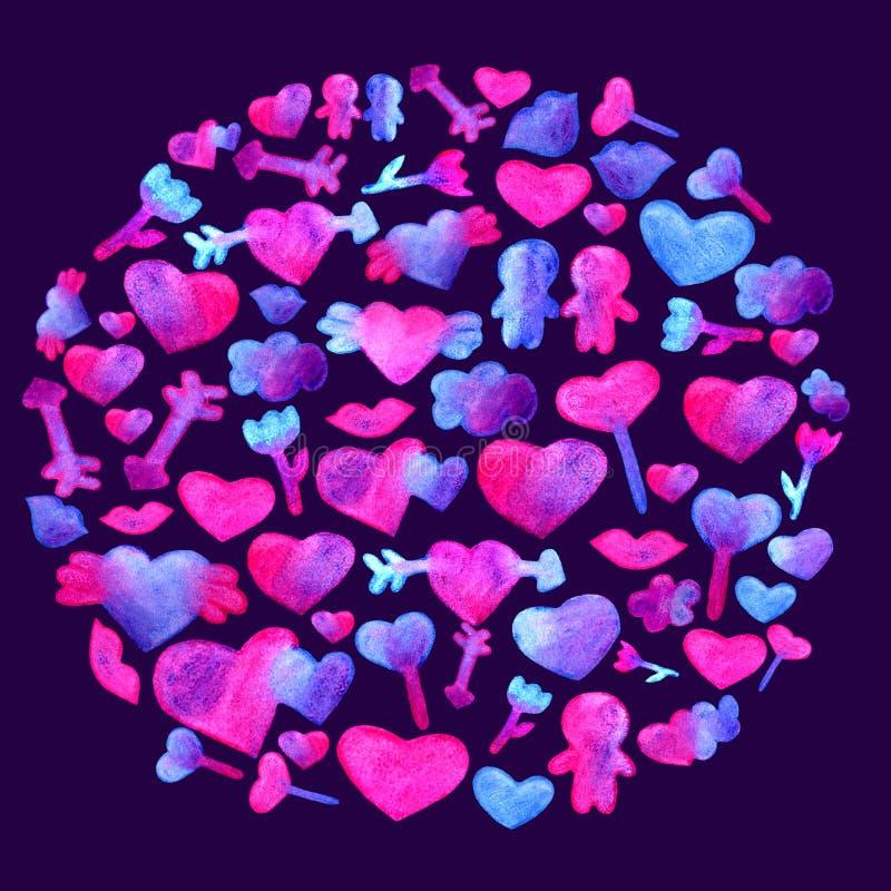 Em um teste padrão redondo com corações azuis, cor-de-rosa da aquarela seta, bordos, projeto romântico dos povos Isolado em Viole ilustração stock