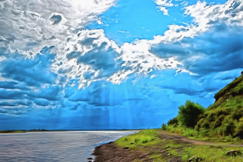 Em uma paisagem pitoresca as grandes nuvens volumétricos cobriram o sol ilustração stock