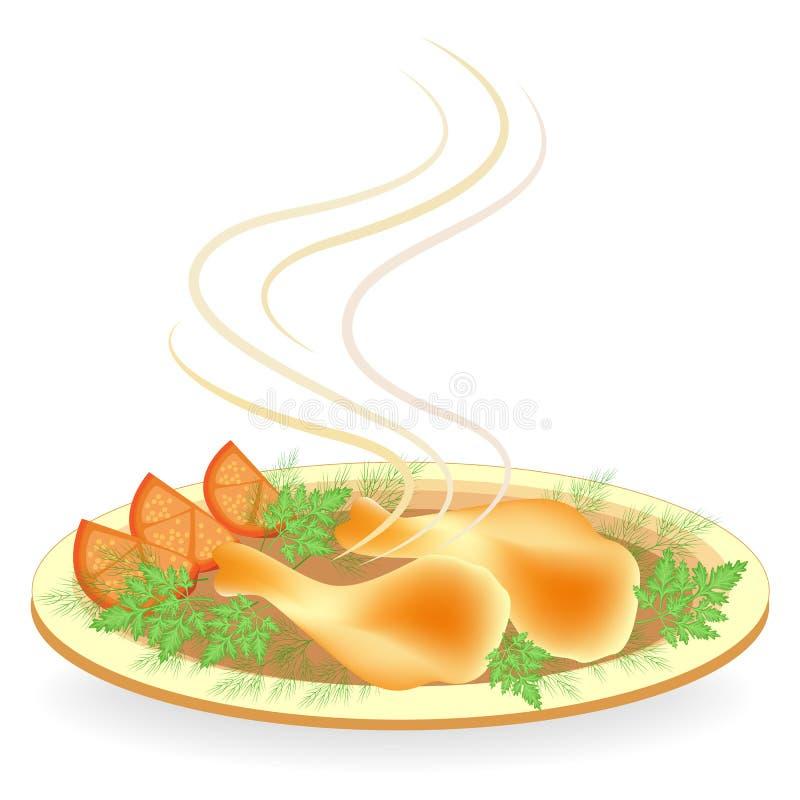 Em uma placa, o pil?o da galinha fritou a carne E Delicioso e ilustração do vetor