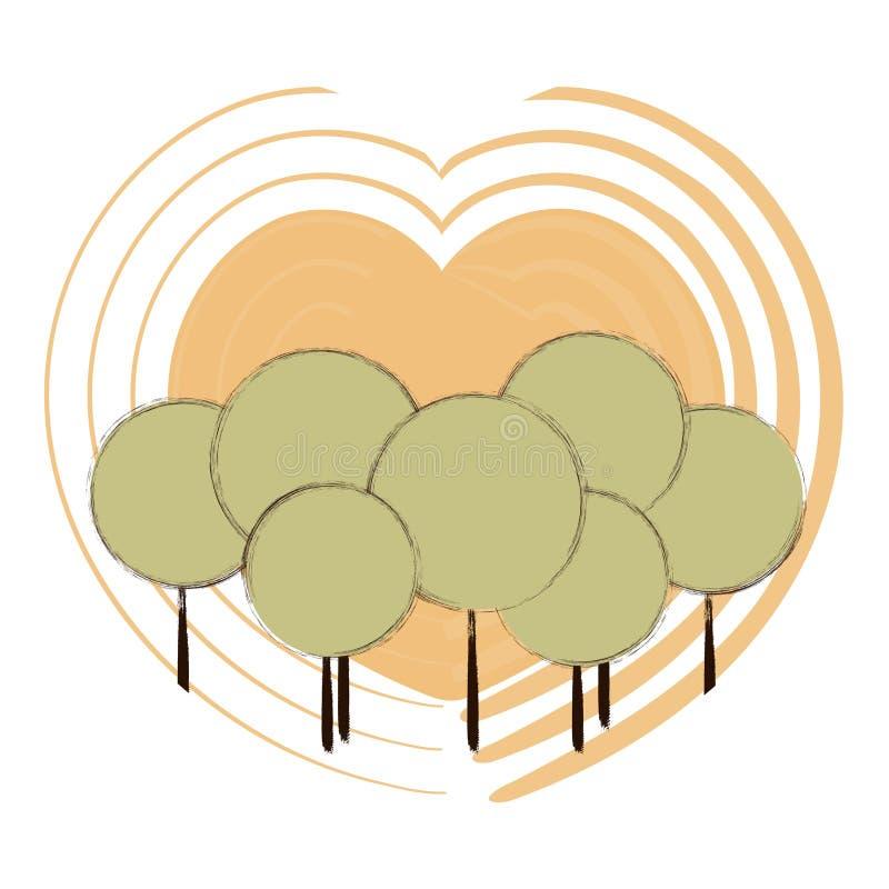 Em volta das árvores no fundo de corações amarelos Vetor ilustração do vetor