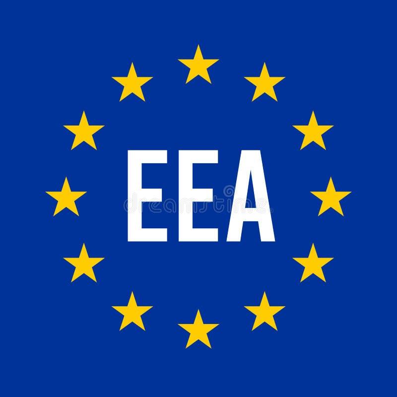 EMA, Europees Milieuagentschap, tekenafbeelding met de Europese vlag royalty-vrije illustratie