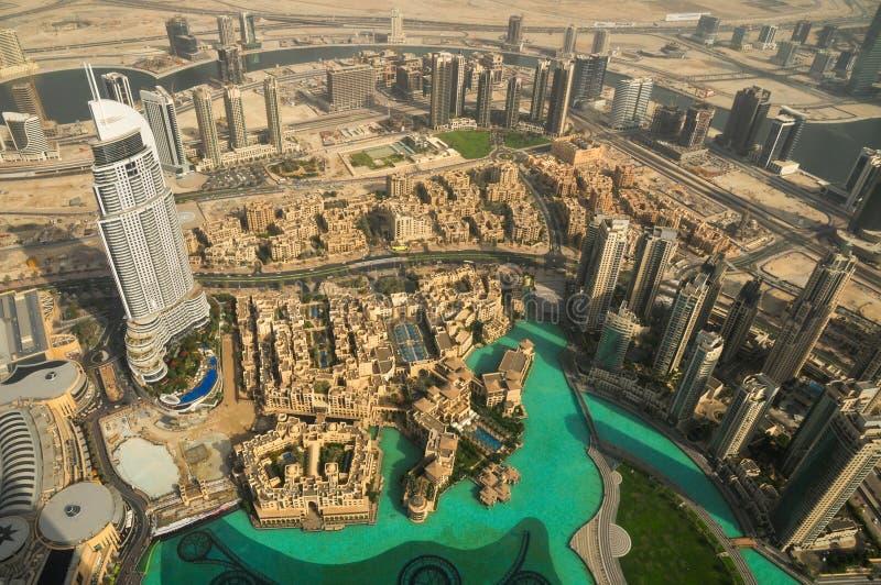 Emaar大厦及市中心,View从Burj Khalifa,迪拜,阿拉伯联合酋长国,中东 免版税库存照片