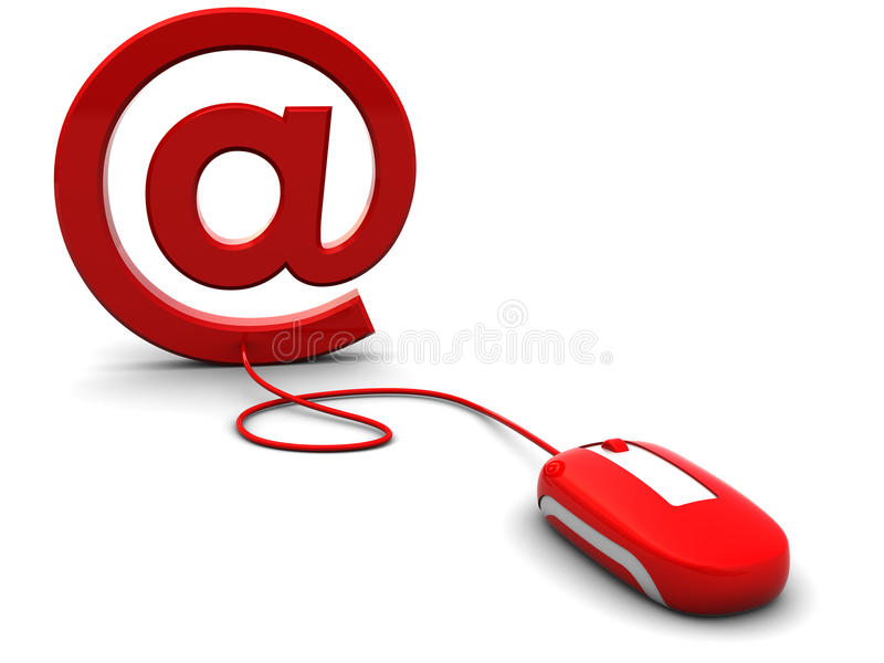 Email. 3d illustration of computer mouse connected to email sign vector illustration