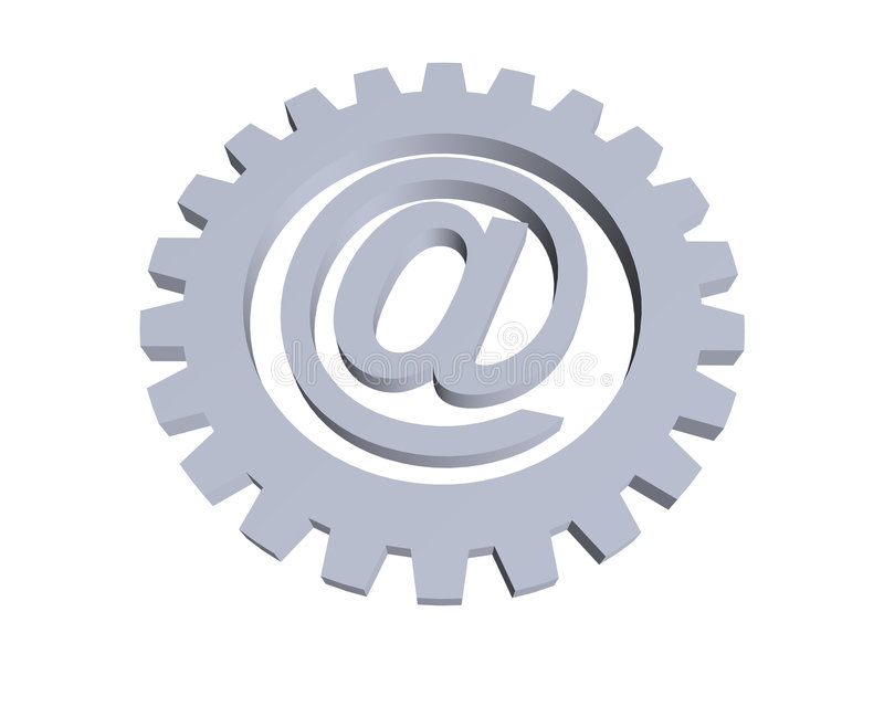 Email. Alias and gear wheel - 3d illustration royalty free illustration