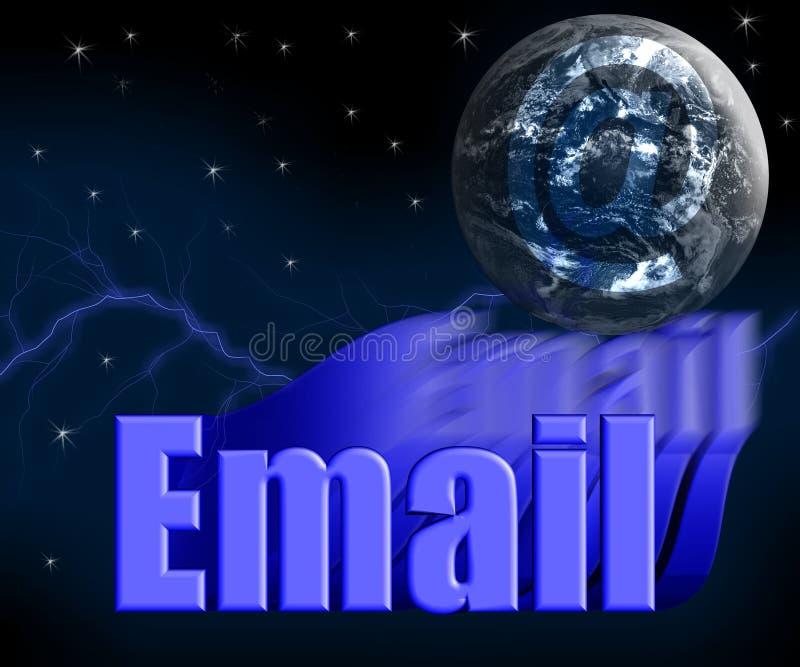 Email 3D com globo e estrelas da terra ilustração do vetor