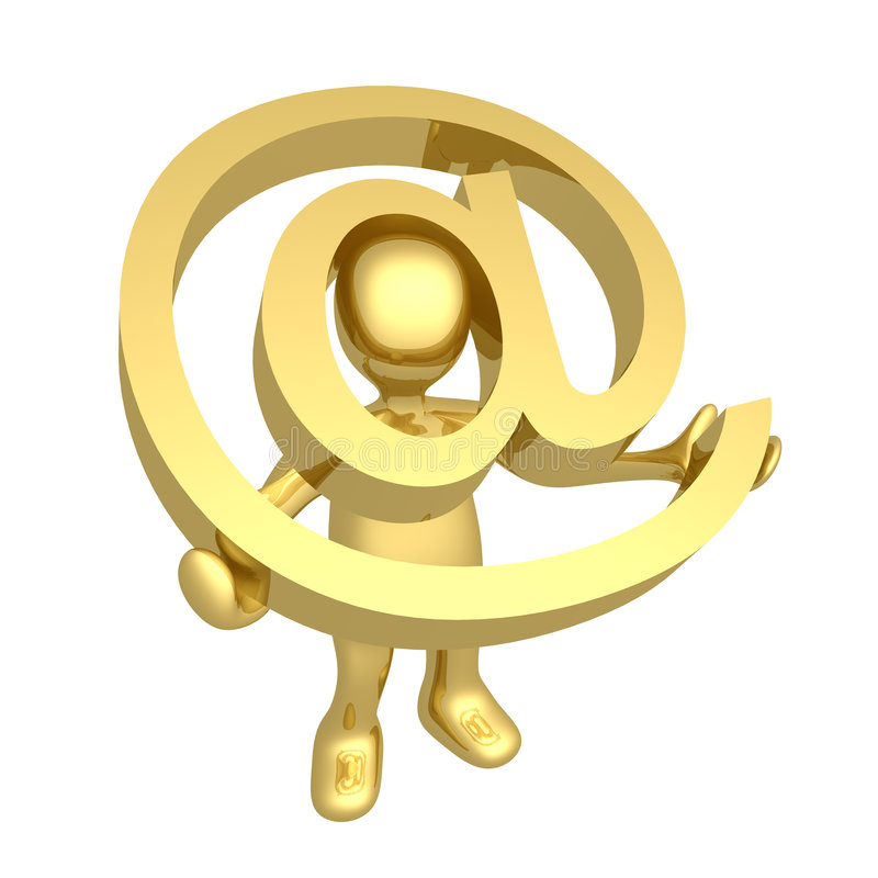 Download Email stock illustration. Image of character, email, gold - 4701213