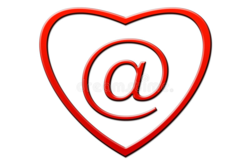 Email. In the form of heart on a white background royalty free illustration