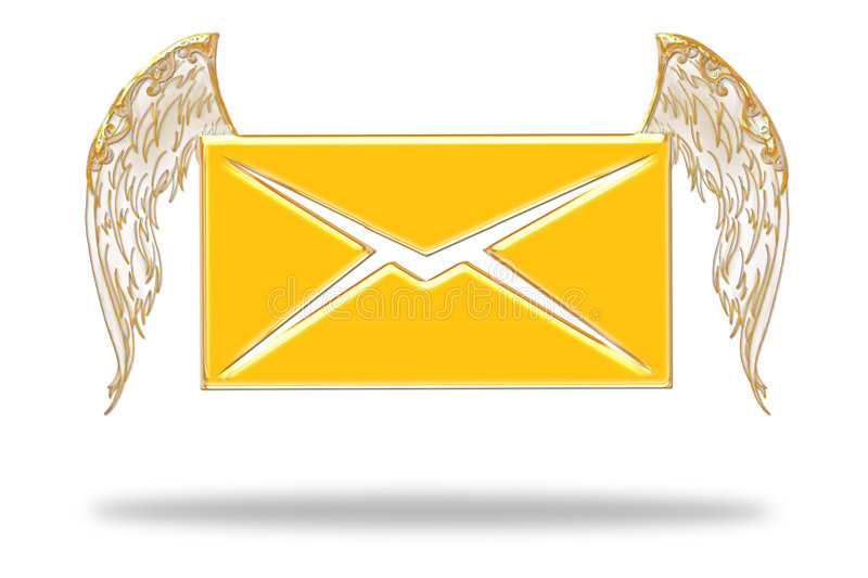 Email. With a angel wings on a white background stock illustration
