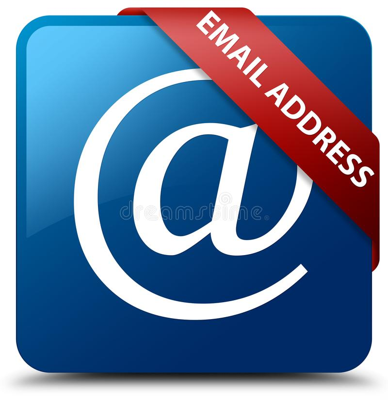 Email address blue square button red ribbon in corner. Email address isolated on blue square button with red ribbon in corner abstract illustration royalty free illustration