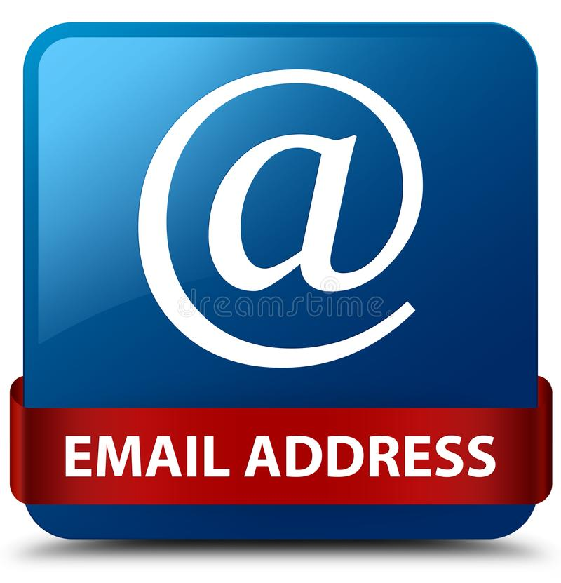 Email address blue square button red ribbon in middle. Email address on blue square button with red ribbon in middle abstract illustration royalty free illustration