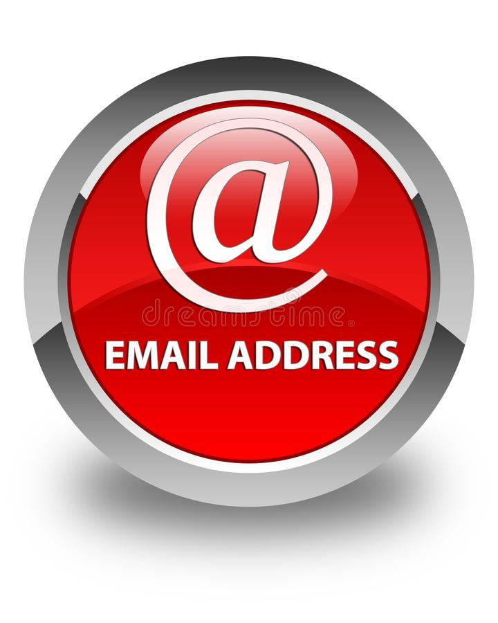 Email address glossy red round button. Email address on glossy red round button abstract illustration stock illustration