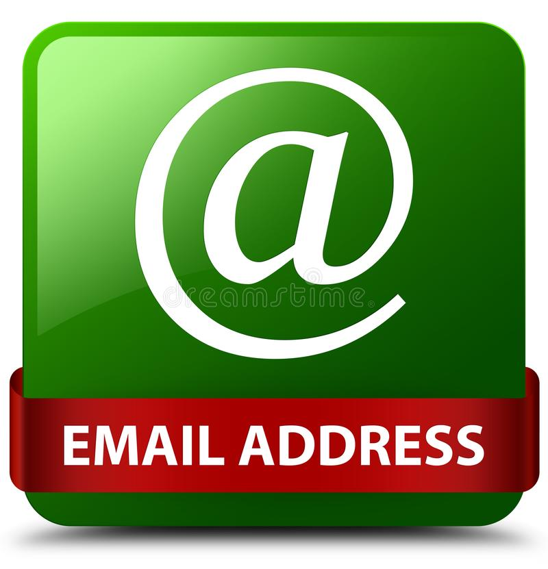 Email address green square button red ribbon in middle. Email address isolated on green square button with red ribbon in middle abstract illustration royalty free illustration