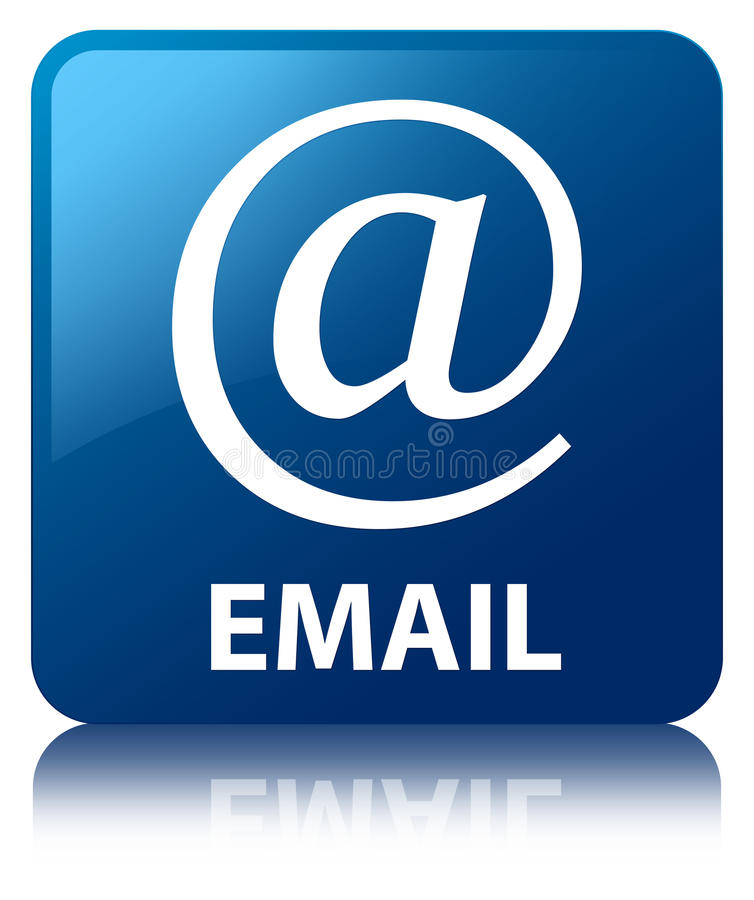 Email (address icon) blue square button. Email (address icon) isolated on blue square button reflected abstract illustration royalty free illustration