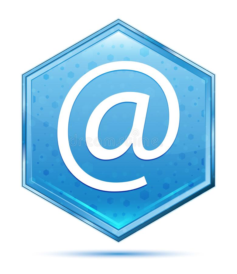 Email address icon crystal blue hexagon button. Email address icon isolated on crystal blue hexagon button vector illustration