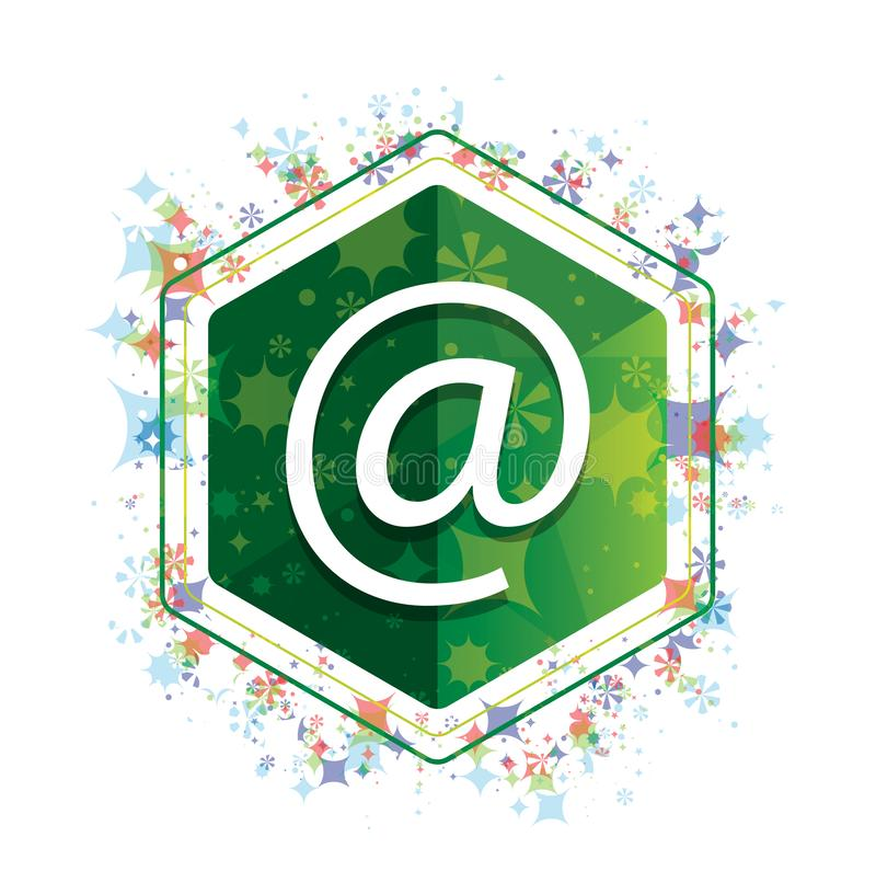 Email address icon floral plants pattern green hexagon button. Email address icon isolated on floral plants pattern green hexagon button vector illustration