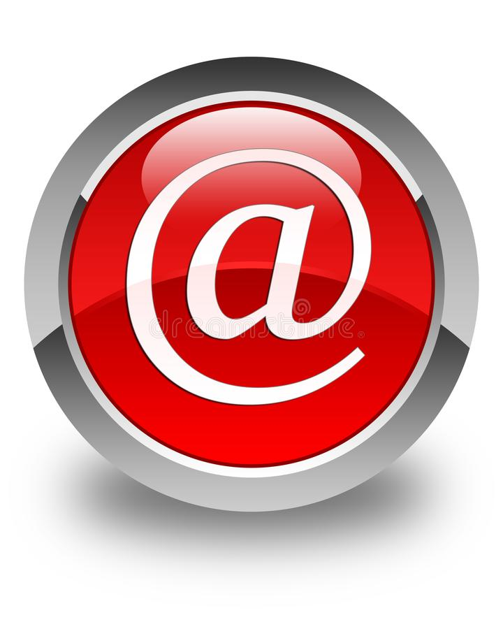 Email address icon glossy red round button. Email address icon isolated on glossy red round button abstract illustration royalty free illustration