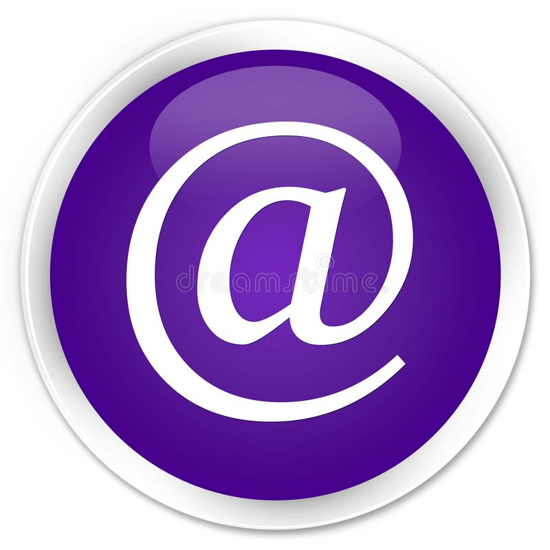 Email address icon premium purple round button. Email address icon isolated on premium purple round button abstract illustration stock illustration