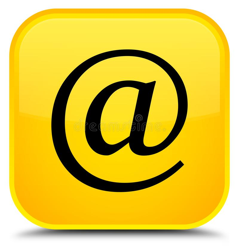 Email address icon special yellow square button. Email address icon isolated on special yellow square button abstract illustration vector illustration