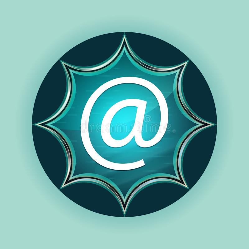 Email address icon magical glassy sunburst blue button sky blue background. Email address icon isolated on magical glassy sunburst blue button sky blue vector illustration