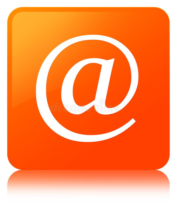 Email address icon orange square button. Email address icon isolated on orange square button reflected abstract illustration royalty free illustration