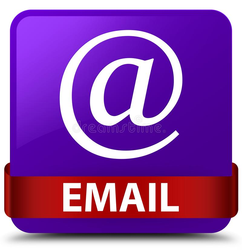 Email (address icon) purple square button red ribbon in middle. Email (address icon) isolated on purple square button with red ribbon in middle abstract stock illustration