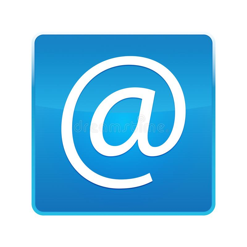 Email address icon shiny blue square button. Email address icon isolated on shiny blue square button royalty free illustration
