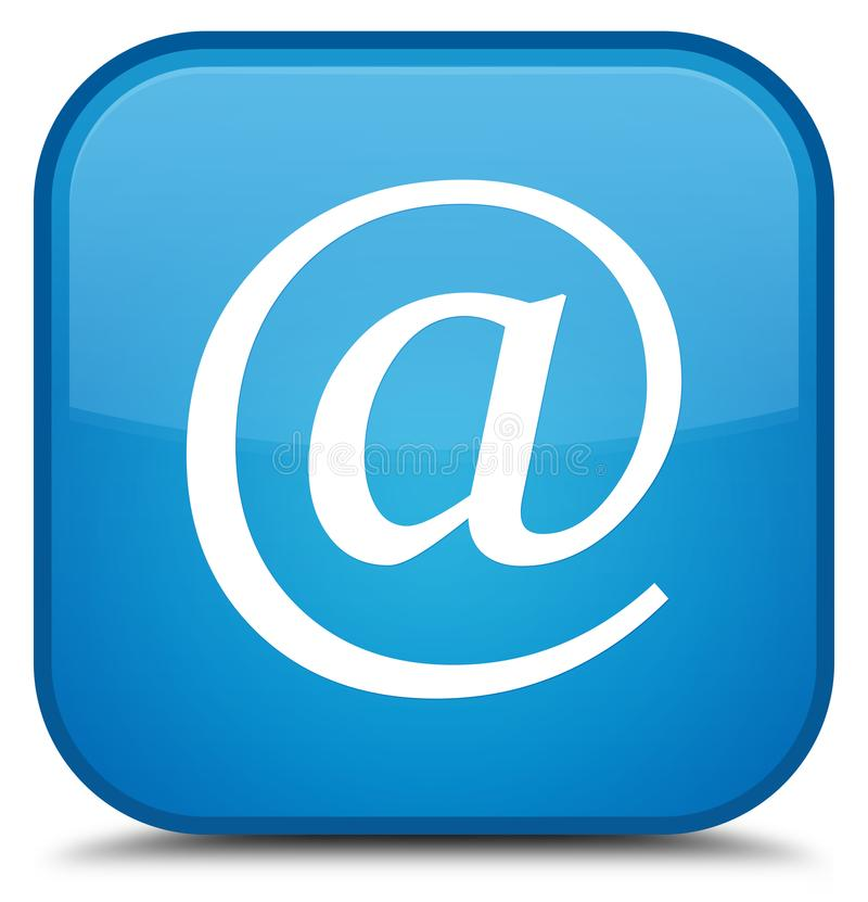 Email address icon special cyan blue square button. Email address icon isolated on special cyan blue square button abstract illustration royalty free illustration