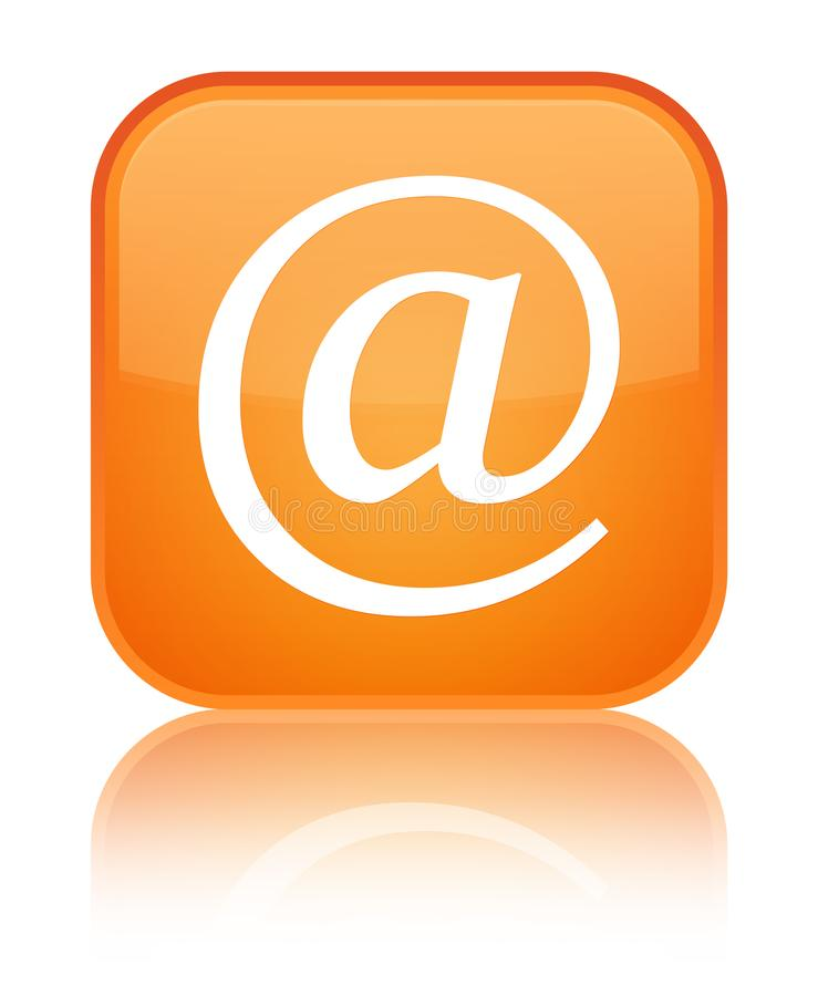 Email address icon special orange square button. Email address icon isolated on special orange square button reflected abstract illustration vector illustration