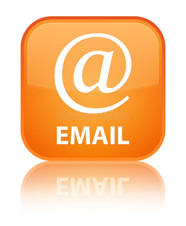 Email (address icon) special orange square button. Email (address icon) isolated on special orange square button reflected abstract illustration royalty free illustration