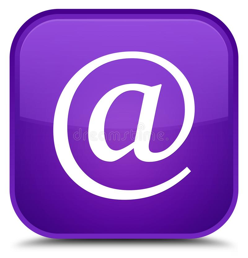 Email address icon special purple square button. Email address icon isolated on special purple square button abstract illustration stock illustration