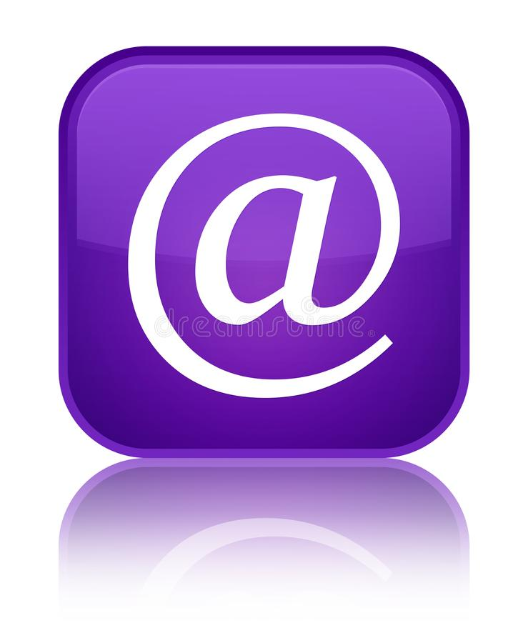 Email address icon special purple square button. Email address icon isolated on special purple square button reflected abstract illustration stock illustration