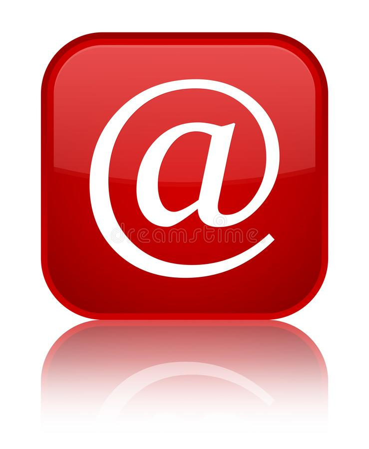 Email address icon special red square button. Email address icon isolated on special red square button reflected abstract illustration stock illustration