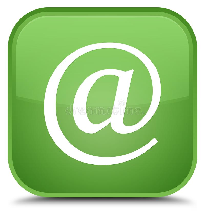 Email address icon special soft green square button. Email address icon isolated on special soft green square button abstract illustration royalty free illustration