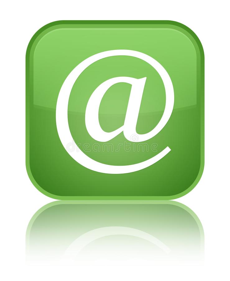 Email address icon special soft green square button. Email address icon isolated on special soft green square button reflected abstract illustration stock illustration