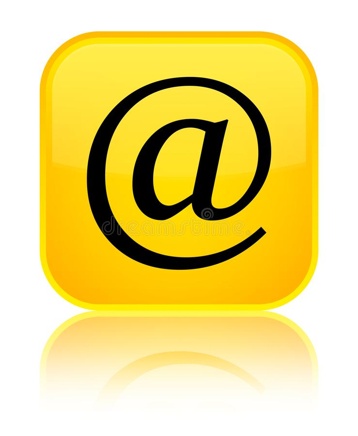 Email address icon special yellow square button. Email address icon isolated on special yellow square button reflected abstract illustration vector illustration