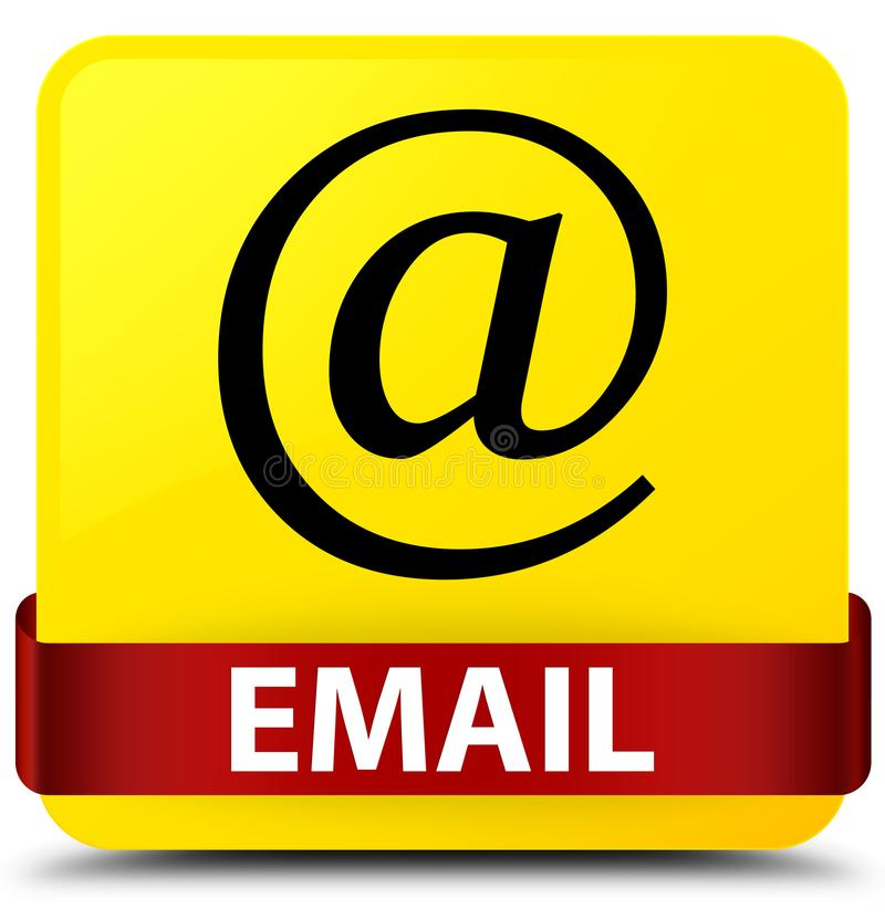 Email (address icon) yellow square button red ribbon in middle. Email (address icon) isolated on yellow square button with red ribbon in middle abstract royalty free illustration