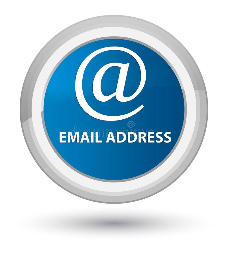 Email address prime blue round button. Email address isolated on prime blue round button abstract illustration royalty free illustration
