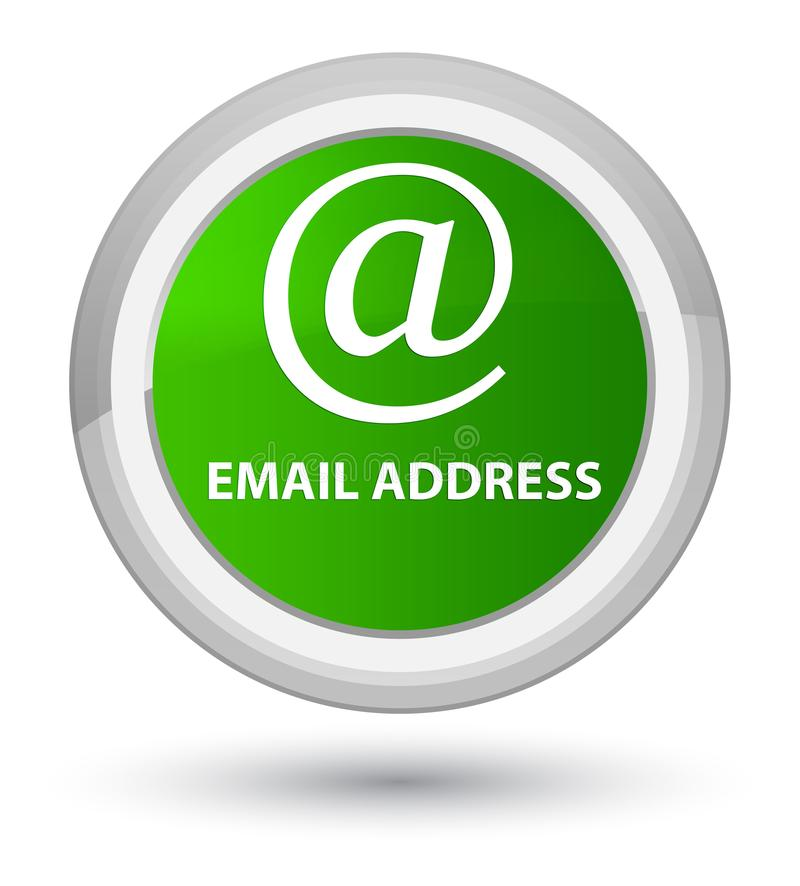 Email address prime green round button. Email address isolated on prime green round button abstract illustration stock illustration