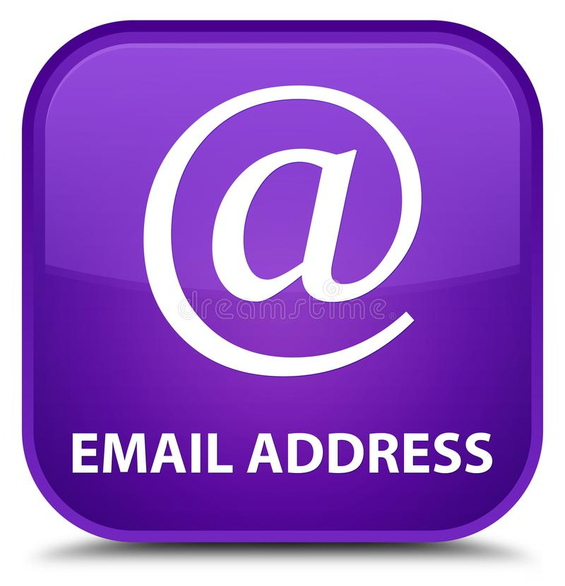 Email address special purple square button. Email address isolated on special purple square button abstract illustration stock illustration